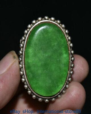 Antique Chinese old silver inlaid enamel cloisonne jadeite jade finger ring