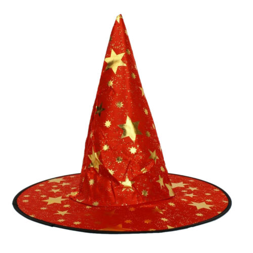 Wizard/'s Hat with Gold Stars Halloween Fancy Dress Costume Red