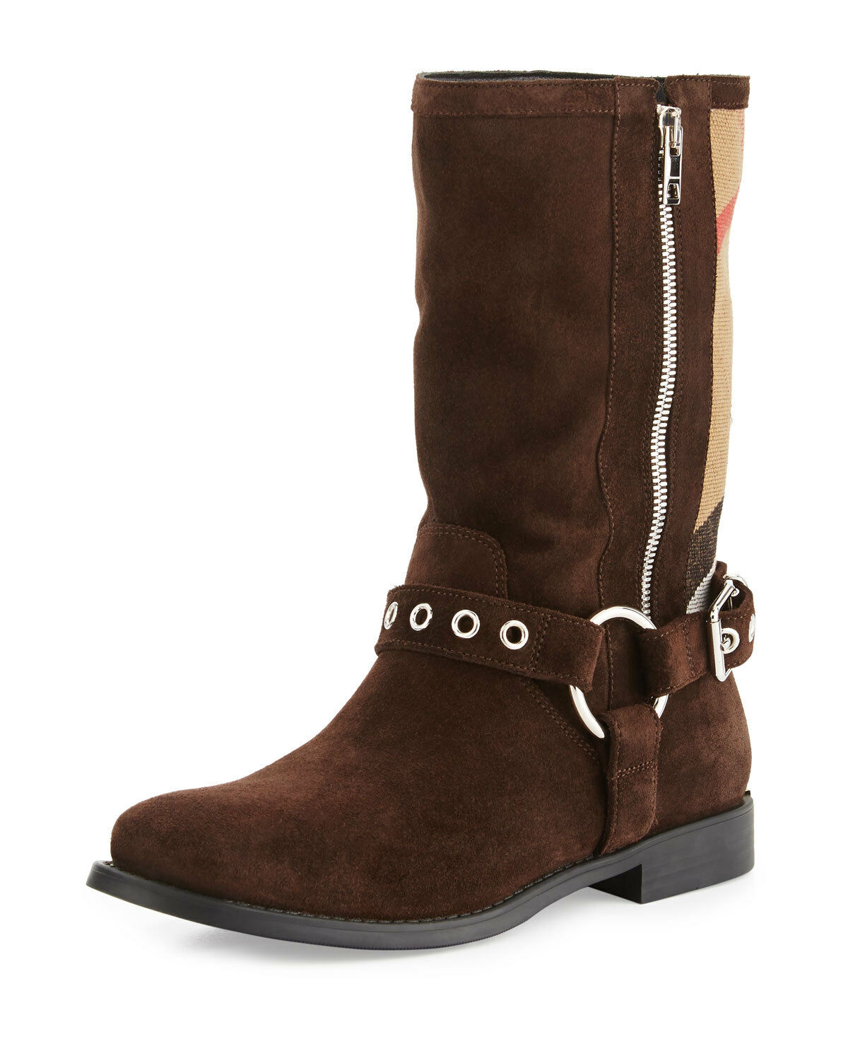 100% AUTHENTIC NEW WOMEN BURBERRY GRANTVISION  CHECK MOTO BOOTS /US 8