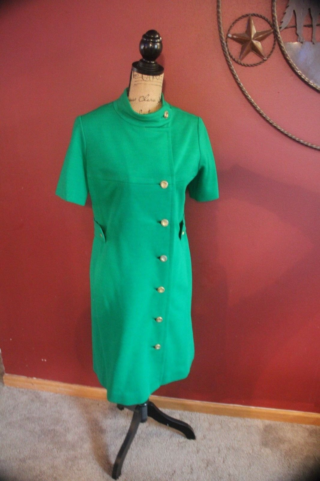Grün Vintage Saks Fifth Ave business dress damen med Spring Fall Cocktail Even