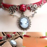 VICTORIAN RED ROSE & CAMEO GOLD LACE CHOKER - STEAM PUNK COSPLAY NECKLACE -