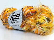 Lot of 3 x 100gr Skeins Ice Yarns Hand-Tied COCKTAIL FANCY Yarn Yellow Brown ...