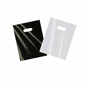 Details About 200 Small Glossy Black White Plastic Merchandise Bags W Cut Handles 9x12