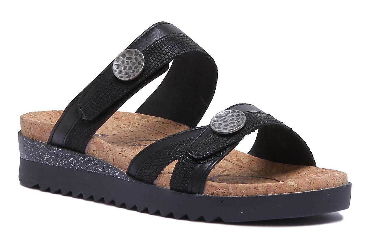 Romika Hollywood 01 Donne in Pelle Nera Slide Sandali Misure Misure Misure 42dc01