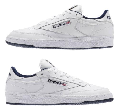 Navy Mens Sneakers Tennis Shoes Item AR0457 Reebok Classic Club C 85 White