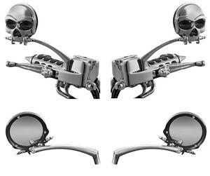 HARLEY-DAVIDSON-Custom-Zombie-Skull-Gothic-Chrome-Mirrors-Pair-KURYAKYN-1450