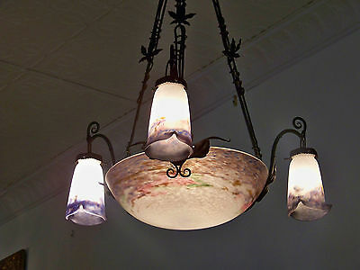 Vintage Muller Fres Chandelier w 1 L Dome & 3 Shades / Black WI Chain