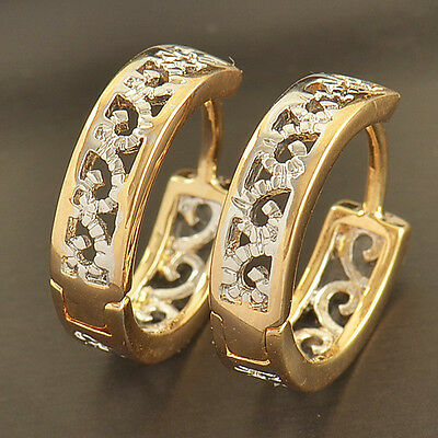 Dainty 9K Gold Filled 2-Tone Openwork Womens Hoop Earrings,Z1854