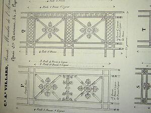 Gravure-ORNEMENTATION-STYLE-NEOCLASSIQUE-DECORATION-MOBILIER-BRONZE-LYON-1838-d