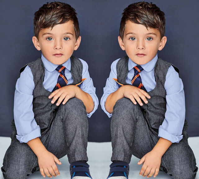 Kids Baby Boy's Cotton Shirt+Pants+Waistcoat+Tie 4PCS Suit Outfits Sets Clothes