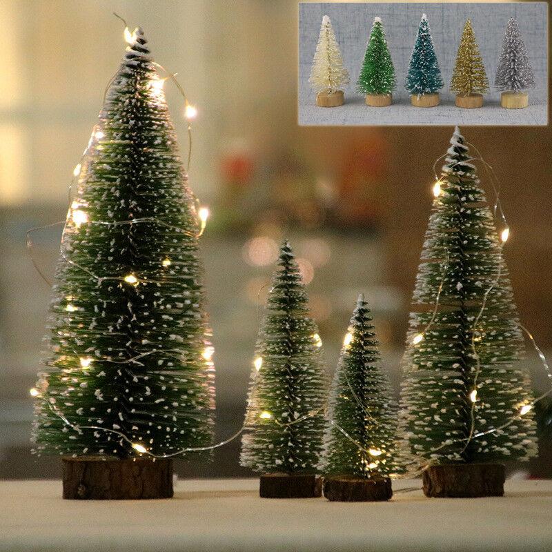 24PC Tabletop Christmas Pine Tree Xmas Mini Snow Tree Small Party Decoration Kit