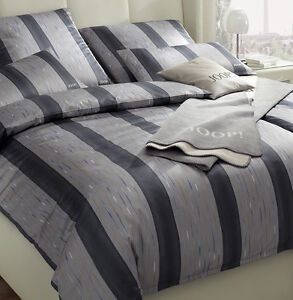 joop mako satin bettw sche plaza stripes 4052 9 cappuccino grau 135x200 cm ebay. Black Bedroom Furniture Sets. Home Design Ideas