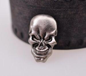 1-7X2-8CM-10pcs-Punk-Antique-Silver-Skull-Studs-Leathercraft-Decor-Saddle-Concho