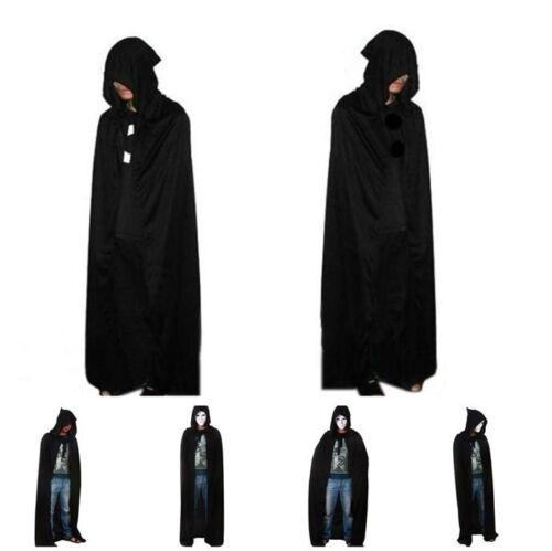 Unisex Hooded Cape Adult Long Cloak Black Halloween Costume Dress Coats BS