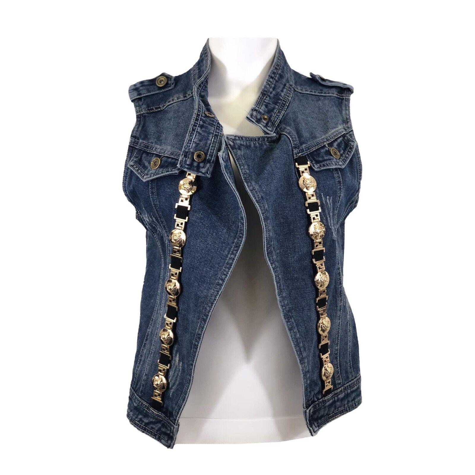 Versace Style Lionhead Medallion Open Front bluee Jean Denim Vest Size Medium