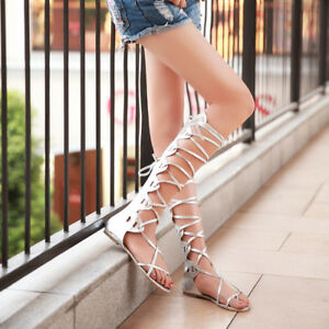 13a046cd9bcf Image is loading Women-Flat-Knee-High-Gladiator-Sandals-Strappy-Beach-