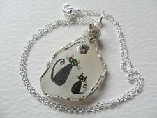 """Big cat & little kitten hand painted sea glass necklace - 18"""" silver plate chain"""
