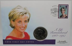 1961-1997-Diana-A-Life-Remembered-FDC-w-1999-Five-Pounds-Coin-Coins-KM-Coins