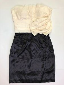 max and cleo tiered ruffle strapless cocktail semi formal dress cream black 4