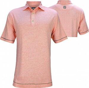 New Men's FootJoy Lisle Space Dye Microstripe Polo Shirt - Coral - XL