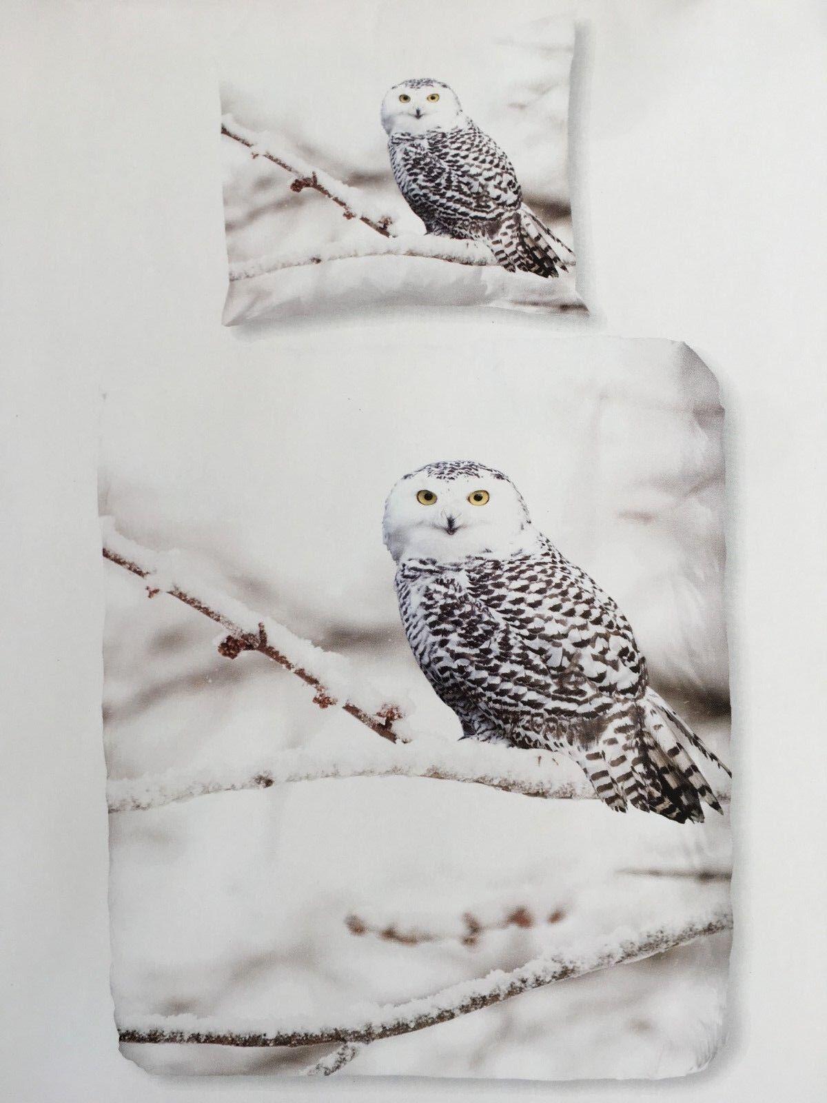 SNOWY OWL Bettwäsche-Garnitur mit Eulen Motiv  2 x 155 cm x 220 cm