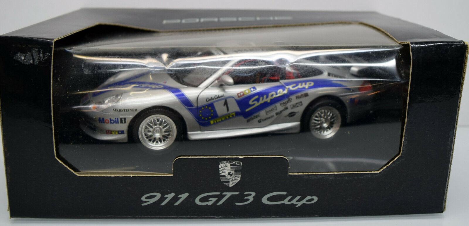 Bburago 1 18 02101399 Porsche 911 gt3 supercup, argent, numéro de départ 1 DIE CAST