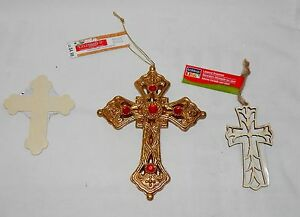 """Christmas Celebrate It Themed Ornaments 6"""" x 4 1/2"""" Cross & 2 small Wood Ones 4Q"""