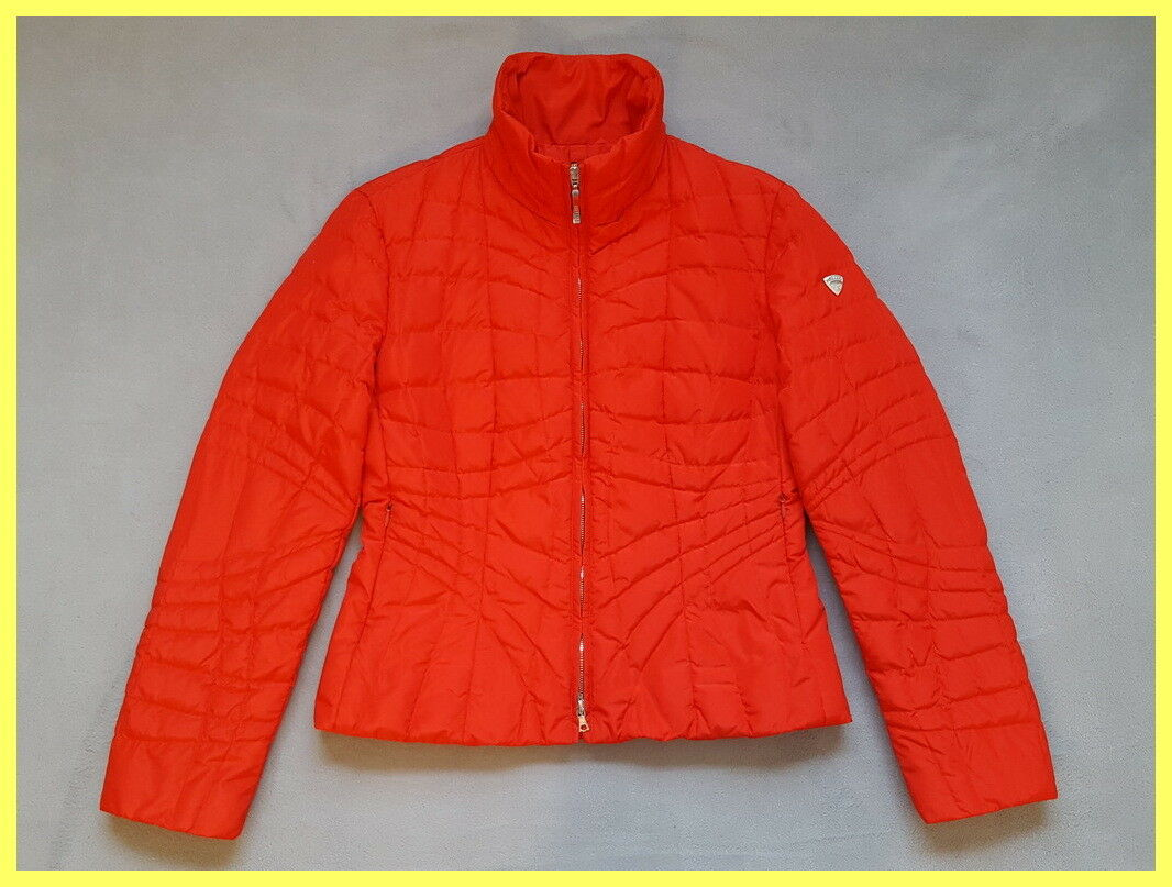 Excelente  condición usada Postal Tarjeta Post Cremallera Frontal Rojo Esquí Invierno Acolchado Chaqueta Abrigo 44 8 M  marca de lujo