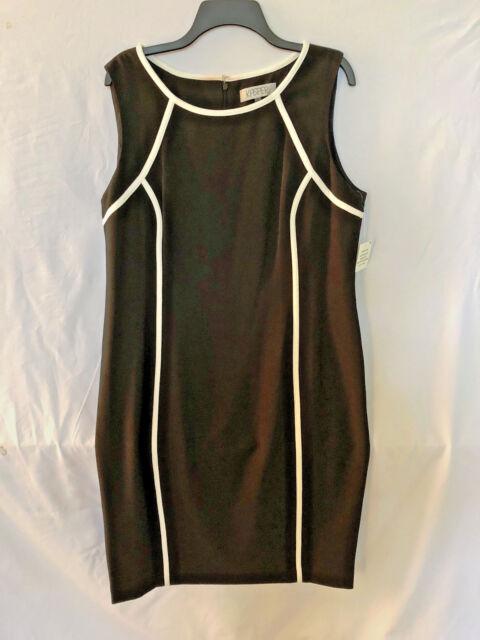 6dcd9067e6 Kasper Women s Sleeveless Piped Sheath Dress Black White Size 16 NWT ...