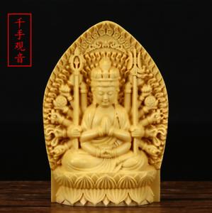 chinese-folk-Wood-boxwood-carving-1000-Arms-Avalokiteshvara-of-Goddess-Sculputre