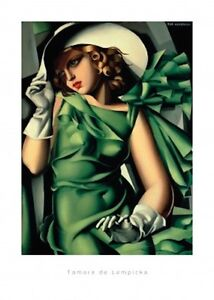 tamara de lempicka young girl in green dress art deco era nouveau print 50x70