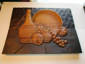 Vintage-Carved-Wooden-Plaque-Wall-Hanging-Raised-Fruit-amp-Wine-Jug-Folk-Art-Wood