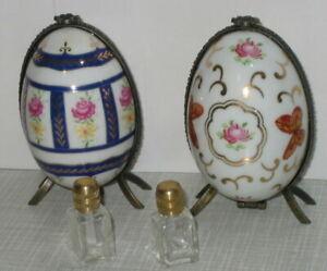 2x-Ei-Dose-mit-Parfuem-Flakon-Porzellanei-Porzellandose-Schmetterling-Rosen-Dekor
