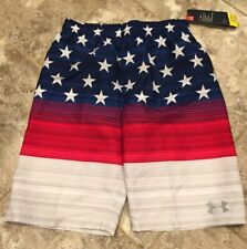 NWT Boys ZeroXposur Swim Trunks Size Medium M 10 12  Patriotic Red White Blue