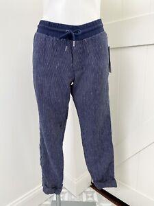 Athleta Women's Navy Blue Striped Bali Linen Ankle Pant Tie Size 2 NWT