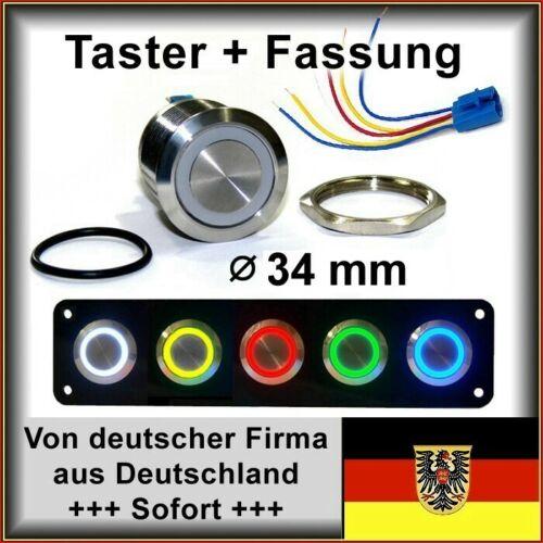 LED grün Hupe Edelstahl Taster 34mm m.Fassung mit Dichtung+Mutter