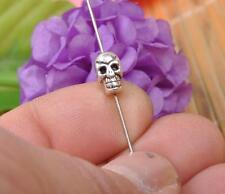 30pcs Tibetan Silver charm bead skull Spacer Beads Charms  Beads 10mm