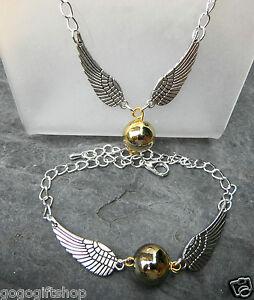 Golden-Angel-Wings-Snitch-Harry-Wizard-039-s-Magic-Bracelet-Necklace-Fantacy