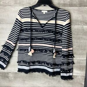 Lisa-Todd-women-039-s-beach-gray-tassel-pullover-long-sleeve-boho-sweater-size-xs