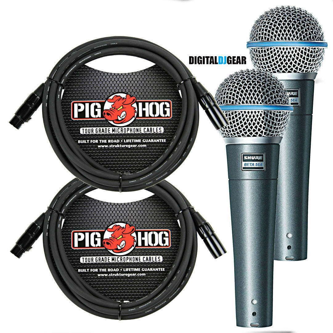 Shure BETA58A Pair Handheld Dynamic High Output Microphone w  Pig Hog Cables