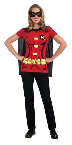Super Héros Femmes T-shirt /& Cap Set Costume Robe Fantaisie Femme Adulte Tailles UK 8-18