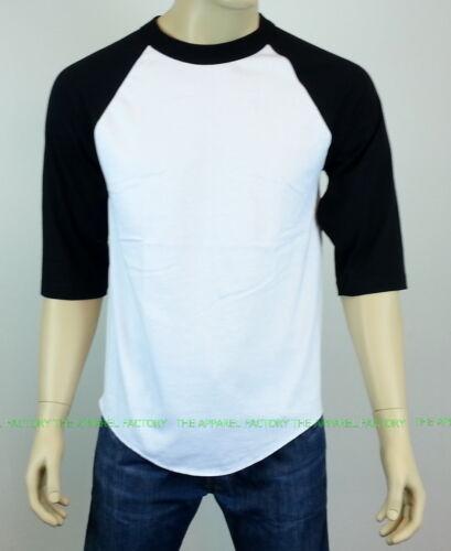 Men/'s White//Black Baseball T Shirt raglan sleeve all size S-2XL FREE SHIPPING