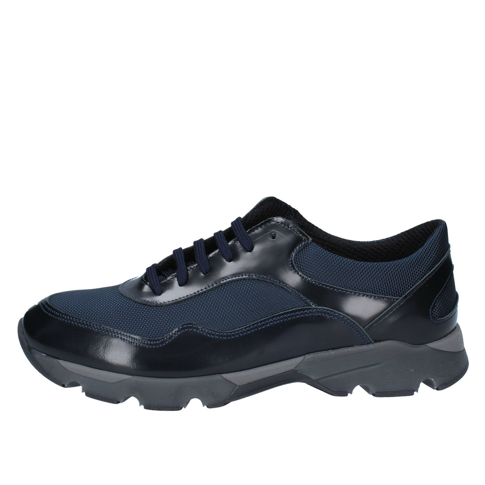 men's shoes BALDININI 9 () sneakers blue leather textile BY538-42