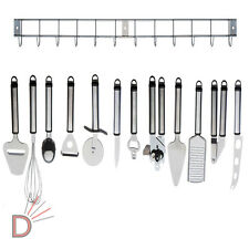 12 Piece Stainless Steel Kitchen Utensil & Gadget Set with Hanging Rack / Holder