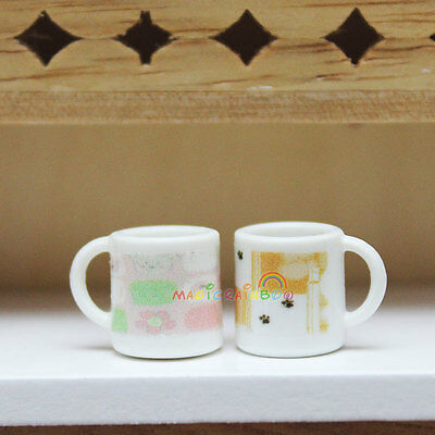 2 x Mini Mug Cup Small Dining Room Coffee Water White Dollhouse Miniature 1:12