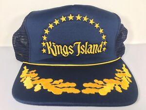 Vintage-King-039-s-Island-Amusement-Park-Trucker-Hat-Blue-Mesh-Original-Price-Tag-OH