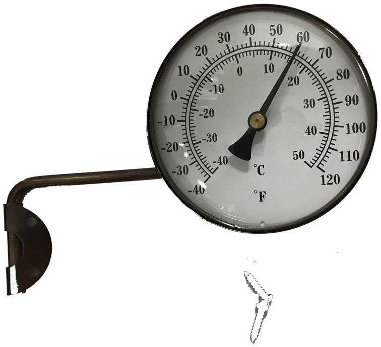 Brass Swivel Thermometer Wireless Indoor Outdoor Swing Arm Metal Mounting 4 Inch