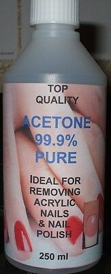 Acetone 99.9% Pure.Acrylic Nail Remover, Nail Polish Remover, Top Quality. 250ml