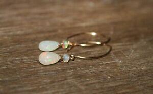 Genuine-Ethiopian-Opal-Earrings-briolette-amp-beads-Jewelry-Welo-Opal-Dangle