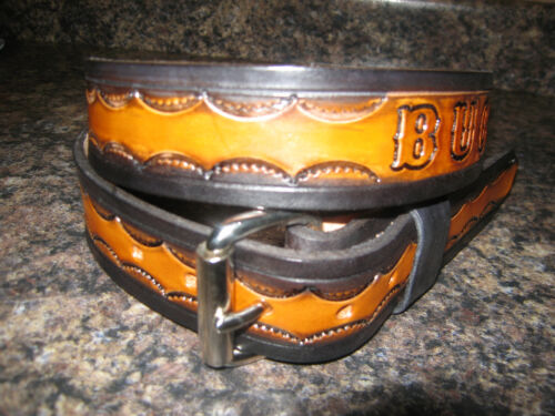 CUSTOM MADE LEATHER BELT BROWN /& BLACK WITH YOUR  NAME HANDTOOLED 1 1//2/'/' WIDTH